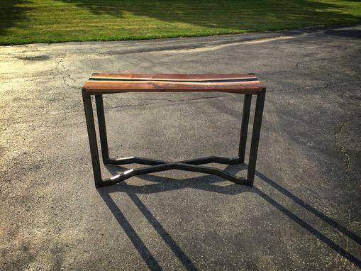 Handmade Black Walnut Amp Blue Resin Sofa Table By Higgins