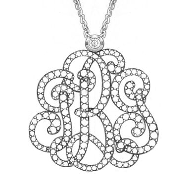 "Custom Made ""J-B-G Initials"" Monogram Diamond Pendant - Sewn Together"
