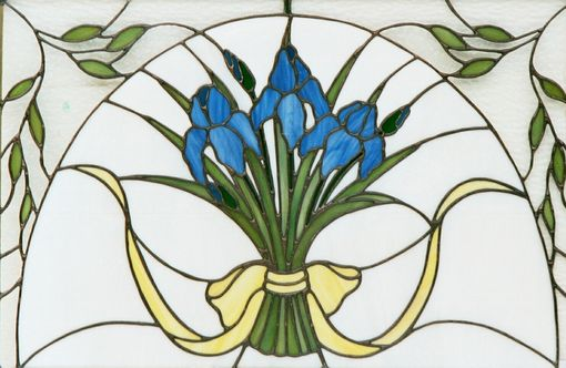 Custom Made Iris Ribbon Stained Glass Window