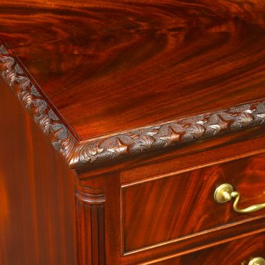 Custom Made Shell Carved Mahogany Chest