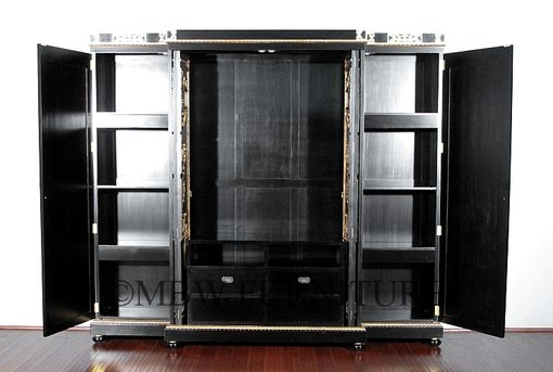 Custom Made 9ft Wide Solid Mahogany Black / Gold Italian Breakfront Media Entertainment Armoire