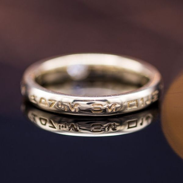We Don T Either But Re Told That The Engraving Placed On This Wedding Ring Reads May Force Be With You In Writing System Used By