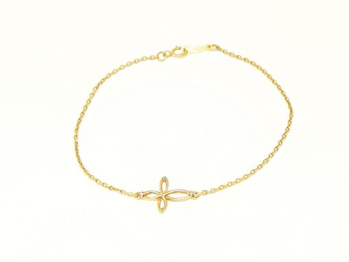 Custom Made Infinite Cross Gold Bracelet With Diamonds