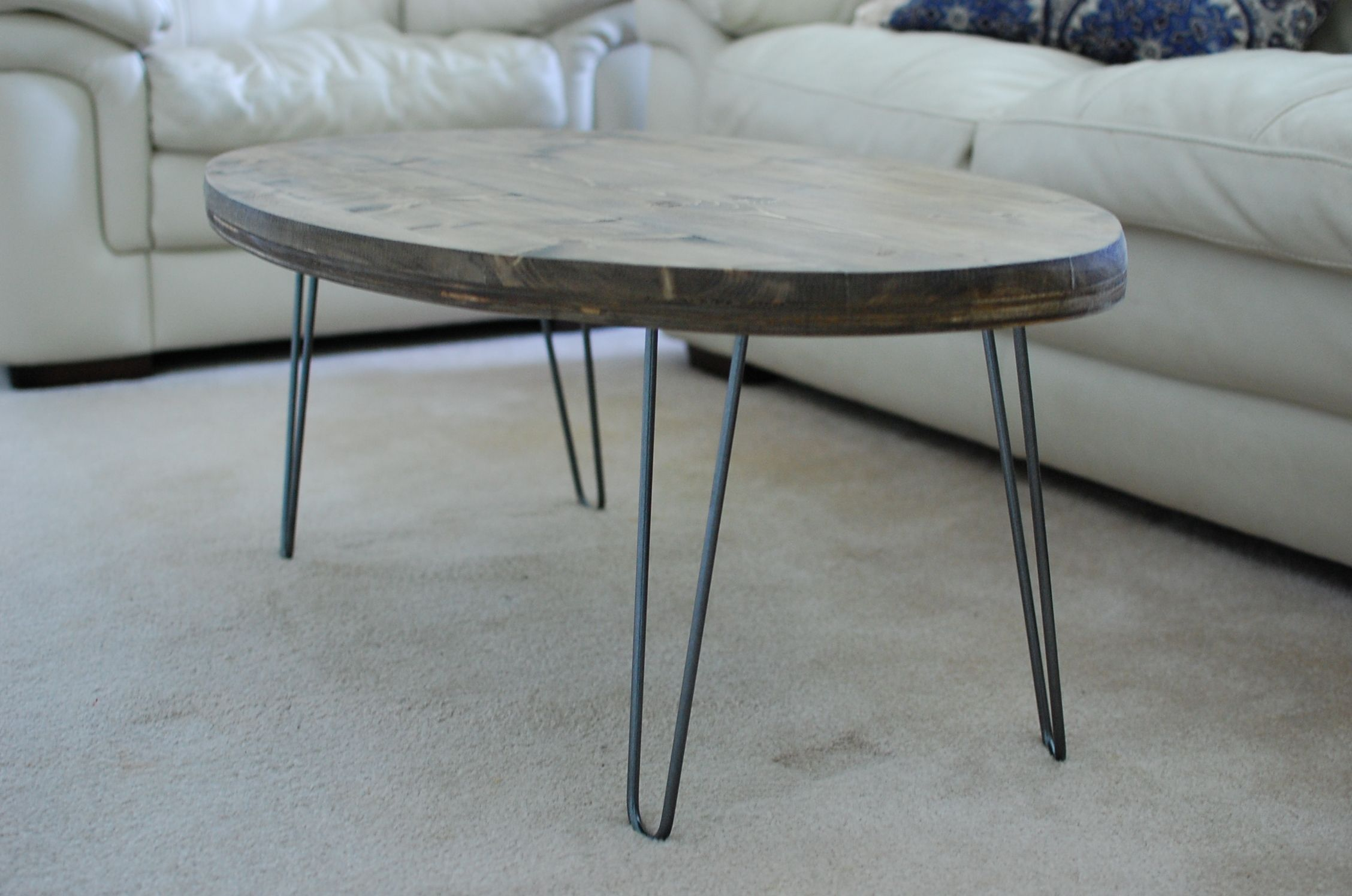 Buy Hand Made Custom Rustic Oval Coffee Table With Hairpin Legs