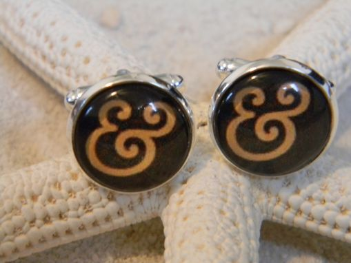 Custom Made Custom Sterling Silver Plated Round Cuff Links