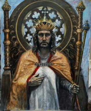 "Custom Made Christus Rex.  Christ The King Oil Painting.  20""X16"""