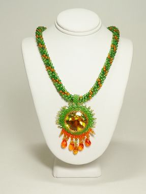 Custom Made Autumn In New England Kumihimo Necklace W/27mm Rivoli Pendant