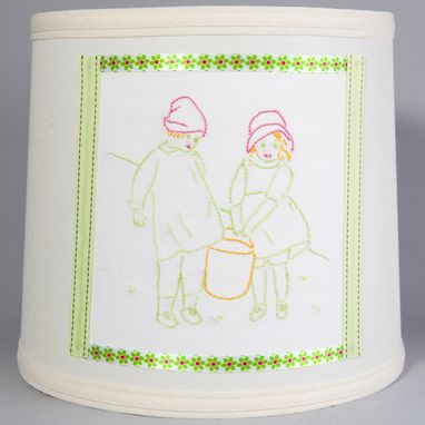 Custom Made Charming Jack & Jill Vintage Embroidered Fabric On New Lamp Shade