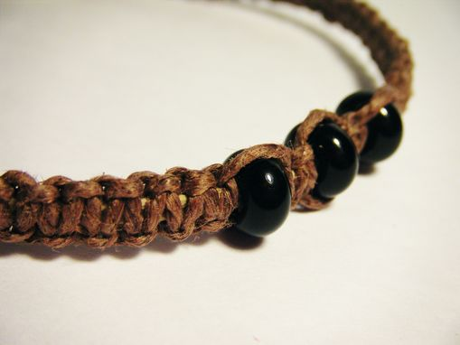 Custom Made Brown Hemp Bracelet With Black Glass Beads