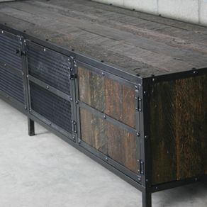 Rustic Media Console Credenza Vintage Mid Century Modern Reclaimed Wood