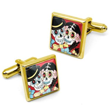 Custom Made Day Of The Dead Bride & Groom Wedding Gold Cufflink Set 68-Gsc