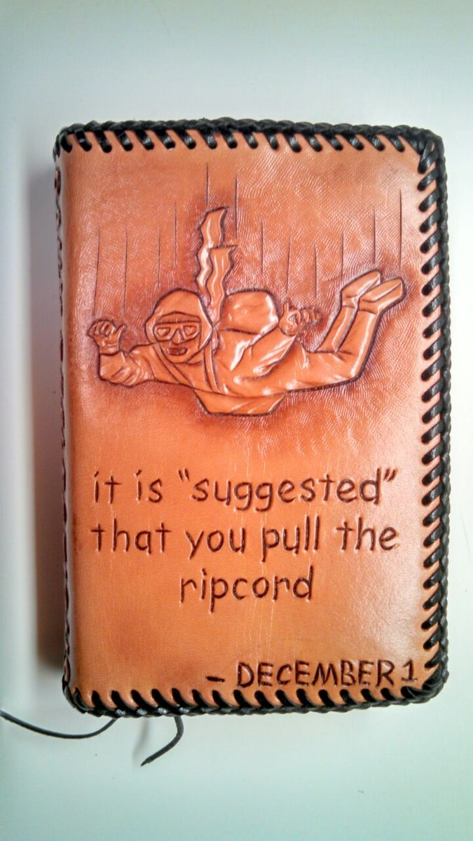 Hand Made Hand Carved Leather Daily Reflections Book Cover