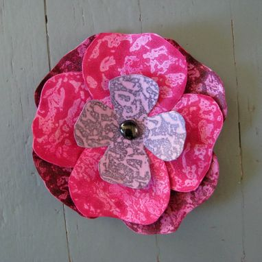 Custom Made Handmade Upcycled Metal Hibiscus Flower Wall Art In Pink And Burgundy