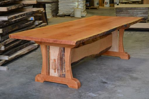 Custom Made Live Edge Cherry Dining Table With Live Edge Trestle Base