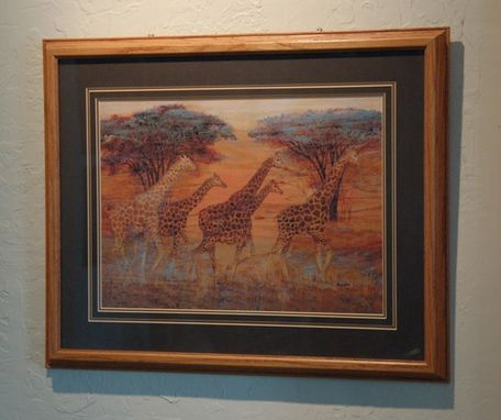 Custom Made Serengeti Sunrise Pyrographic Art Coloree On Oak