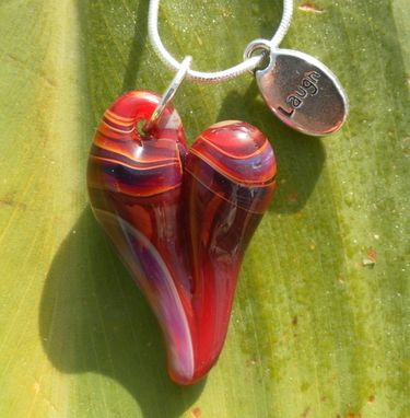 Custom Made Sterling Silver Necklace With Red And Amber Glass Heart Pendant