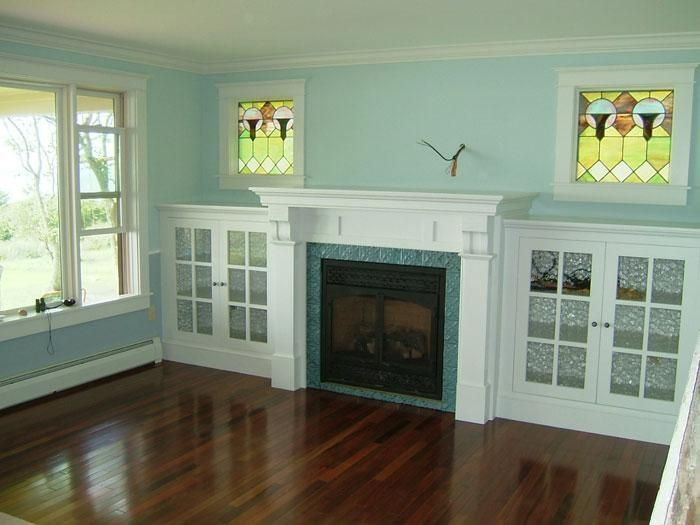 Handmade Eastlake Fireplace And Side Cabinets By