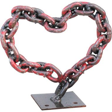 Custom Made Welded Chain Art Metal Heart Sculpture, Sign Signage
