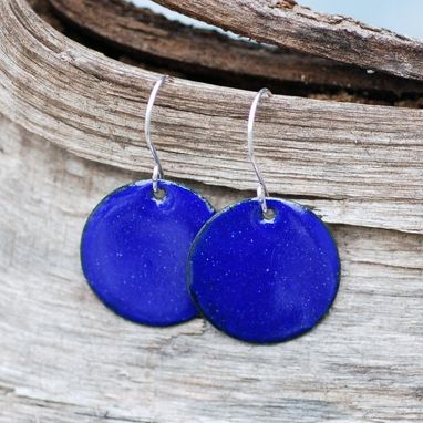 Custom Made Enamel Earrings, Large Copper Disc, Enameled Jewelry, Cobalt