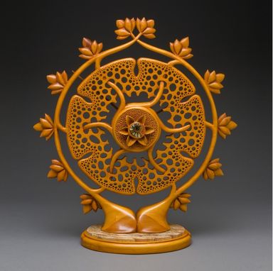"Custom Made Carved Mantle Clock ""Celtic Garden"""