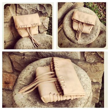 Custom Made Laced Leather Clutch // Foldover // Hand Stitched // Sculpted