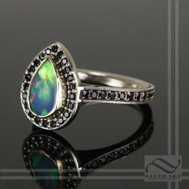 Custom Made Opal Halo Ring With Black Spinel