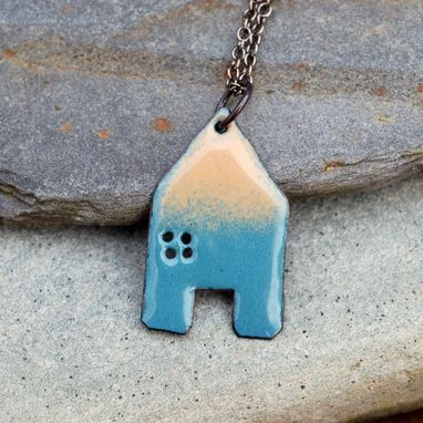 Custom Made Enamel House Necklace Pendant Copper Home Enameled Jewelry - Green Blue And Tan