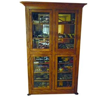 Custom Made Solid Red Oak Display Cabinet