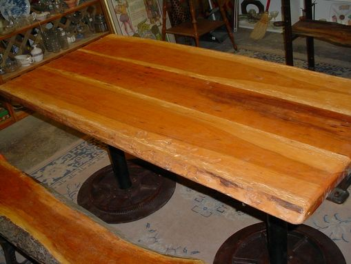 Custom Made Cherry Table And 2 Benches, Sap Wood Live Edges W/Bark