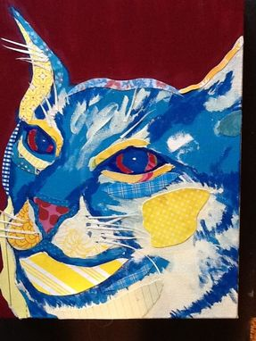 Custom Made Contemplative Cat Original Collage Limited Edition Print