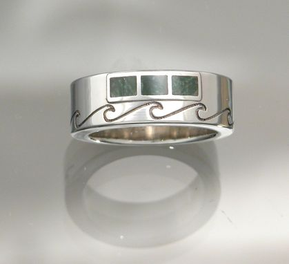 Custom Made 14kt White Gold Men's Ring With Jade Inlay