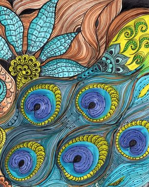 Custom Made Peacock Fine Art Print-Turquoise Blue Lime Green Ink And Acrylic Painting