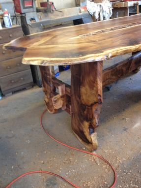 Custom Made Rosewood Dining Table With Hand Tooled Copper Insert