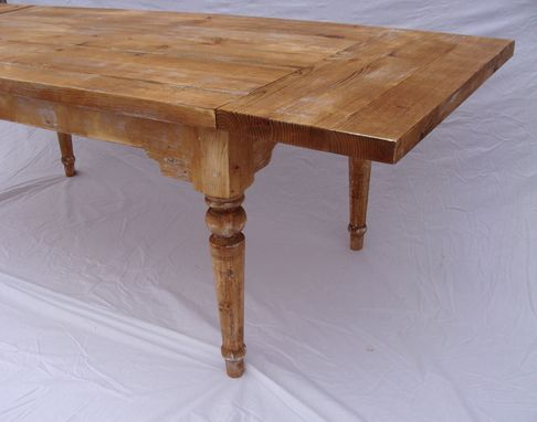 Custom Made Antique Style Farm Table With Drop Leaf Extensions - On Sale