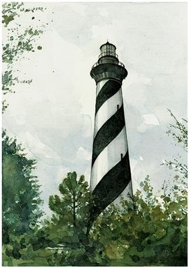 Custom Made Custom Lighthouse Watercolor Painting 5x7