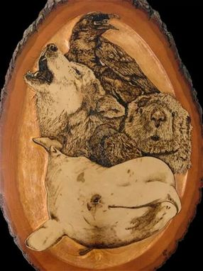 Custom Made Wood Burned Animal Spirit Totem Plaque