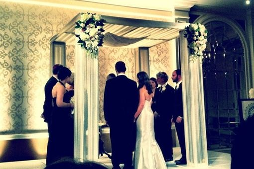 Custom Made Gold Lettered Chuppah