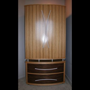 Custom Made Modern Wardrobe With Drawers In Zebrawood (The Gatsby)