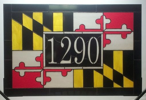 Custom Made Maryland Flag Transom Window With House Number (Am-48)