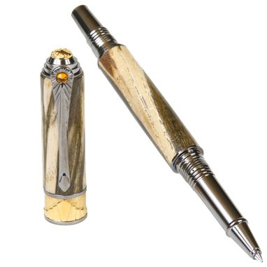 Custom Made Lanier Art Deco Rollerball Pen - Spalted Hackberry - Ar6w83