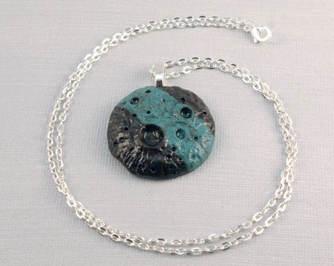 Custom Made Clay Moon Pendant Necklace, Turquoise And Black
