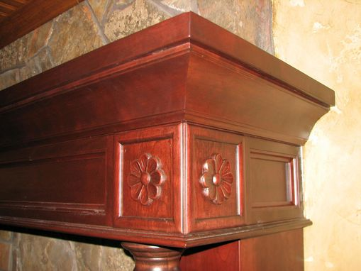 Custom Made Cherry Fireplace Mantel With Hand Carved Details