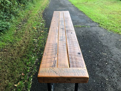 Custom Made Reclaimed Wood And Welded Steel Console Table