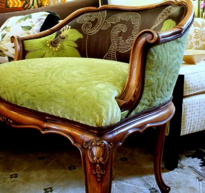 Custom Made Upholstered Chair, Carved Fruit Wood With Embroidered Silk Satin And Embossed Chenille