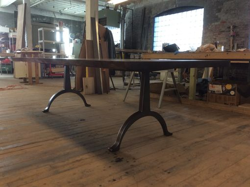 Custom Made Walnut Table With Classic Arch Base