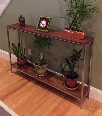 Custom Made Console Table In Sapele Mahogany And Stainless