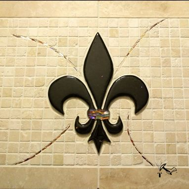 Custom Made Fleur De Lis Mosaic Backsplash