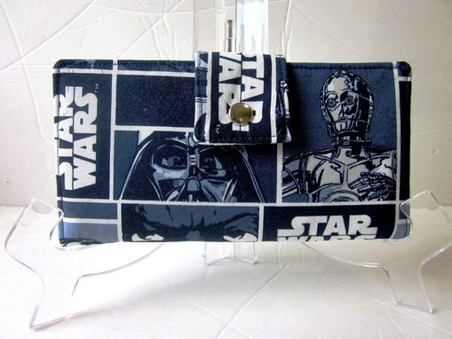 Custom Made Handmade Women Wallet Star Wars In Navy Blue And White