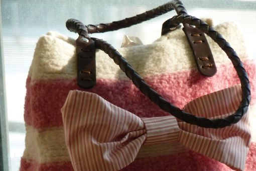 Custom Made New For Spring. Pink & White Striped Felted Wool Purse With Leather Handles