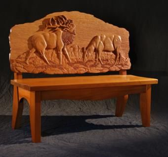 Custom Made Elk Bench